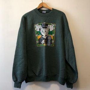 Vintage Green Cat Crewneck Sweater
